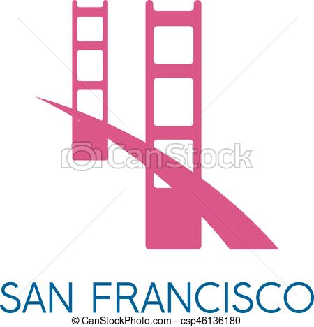 450x468 San Francisco Golden Gate Bridge Vector Design Template Illustration.