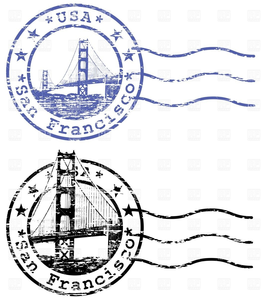 1061x1200 Shabby Stamp With Cityscape Of San Francisco And Golden Gate