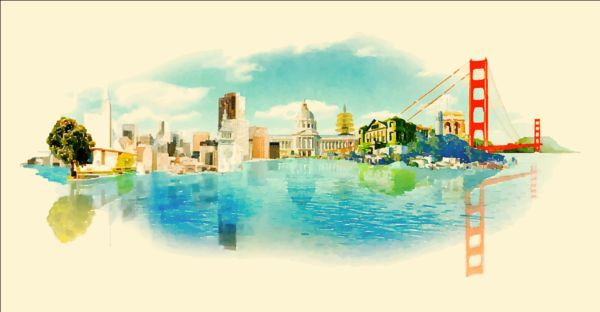 600x312 Watercolor San Francisco Pano Vector