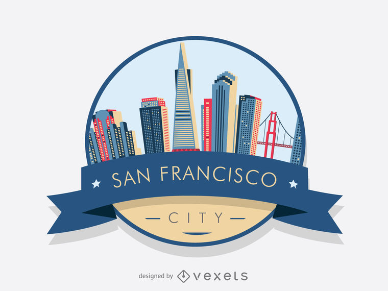 760x570 San Francisco Graphic Design San Francisco Badge Skyline Vector