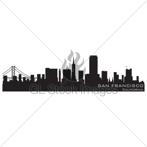 500x500 San Francisco, California Skyline. Detailed Vector Silhou... Gl