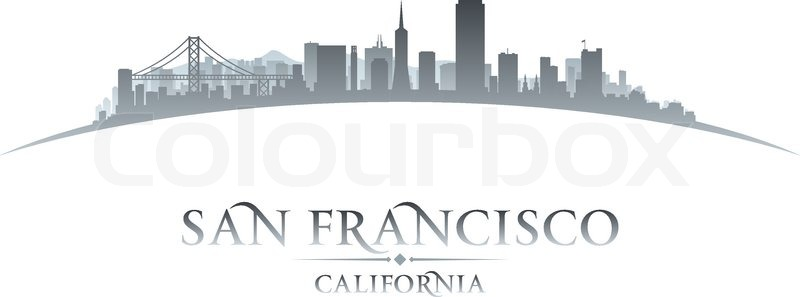 800x297 San Francisco California City Skyline Silhouette. Vector