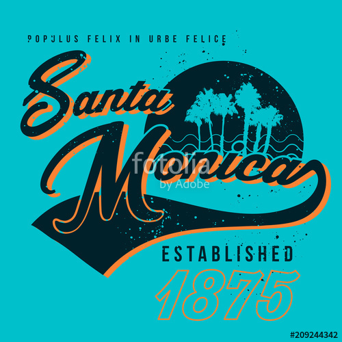 500x500 Vector Santa Monica Graphic Tee Design Stock Image And Royalty
