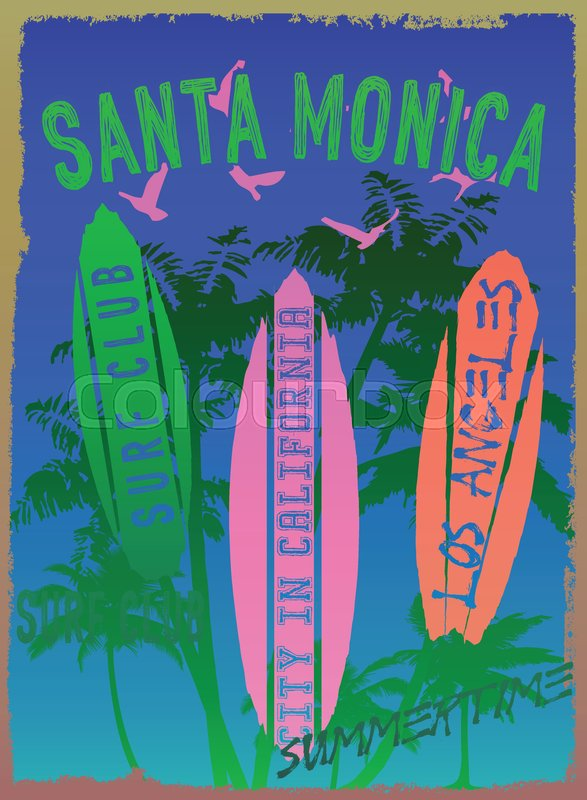 587x800 Vector Illustration On The Theme Of Surf And Surf Club Santa