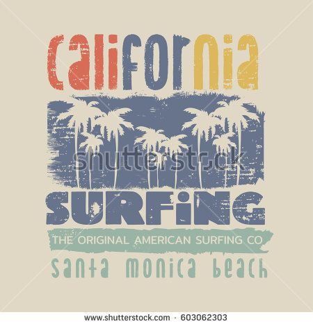 450x470 Vector Illustration On The Theme Of Surfing And Surf In California