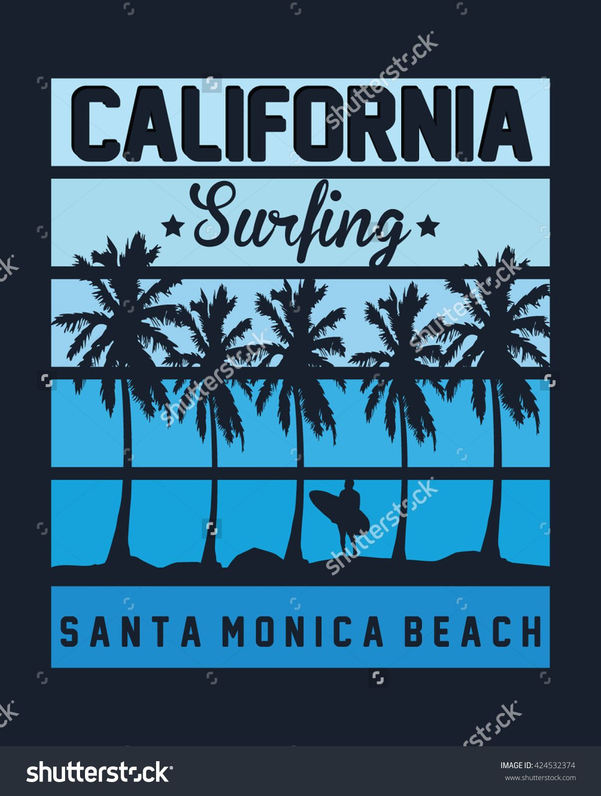 1209x1600 California Surfing, Santa Monica Beach Vector Print And Varsity
