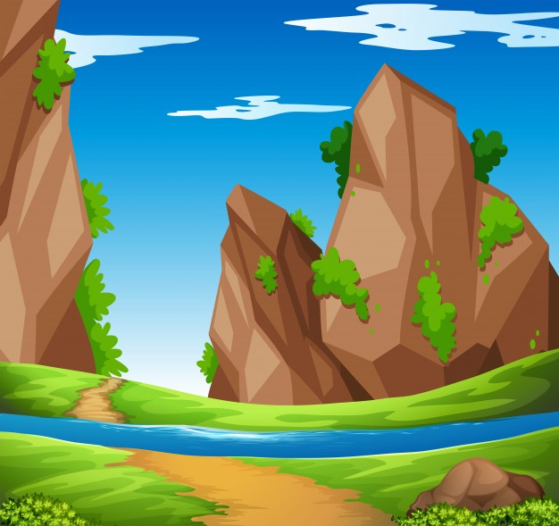 626x589 Scene With River And Mountain Illustration Vector Free Download