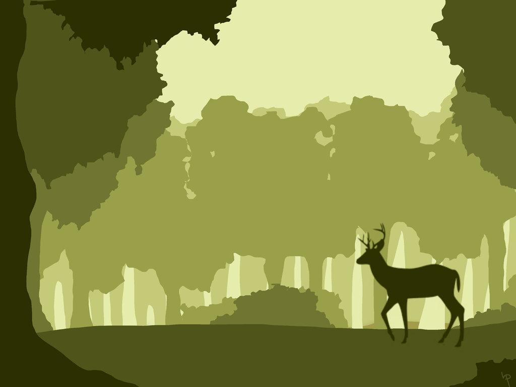 1024x768 Deer Vector Scene Yellow Green By Lascivio Pipio