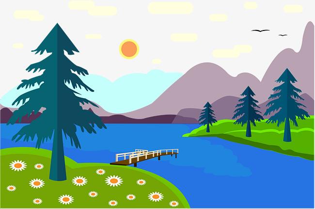 650x432 Flat Lake Scenery Illustration Vector Illustration, Flat Vector