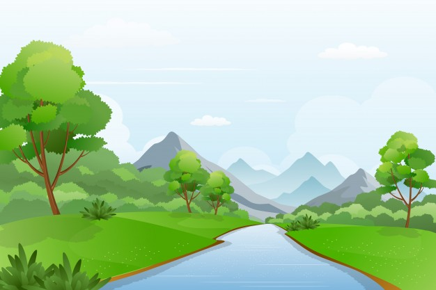 626x417 Illustration Of River A Cross Mountains, Beautiful Riverside