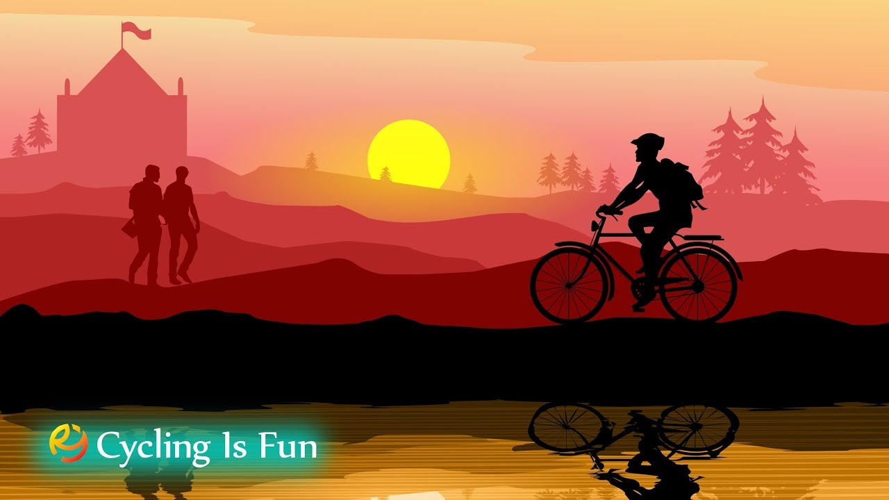 1280x720 Tutorial Vector Landscape Drawing In Illustrator, Cycling Is Fun