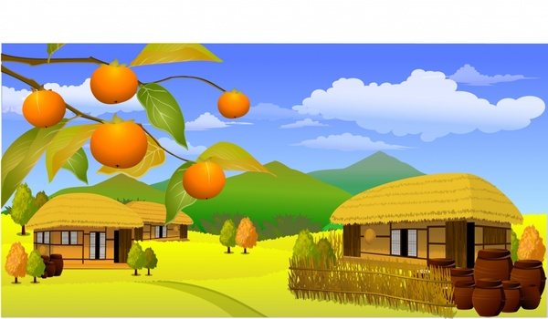 600x350 Countryside Scene Painting Cottage Mountain Tree Icons Decor Free