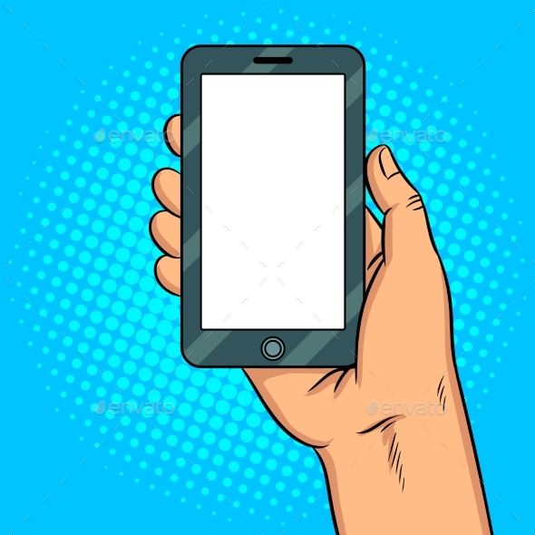 590x590 Smart Phone White Screen Pop Art Vector By Alexanderpokusay