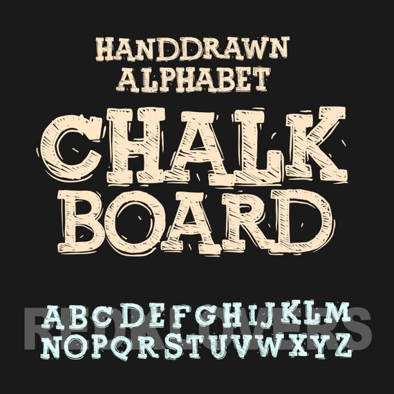 570x570 Svg Silhouette Dxf Chalkboard Vector Alphabet For Screen Etsy