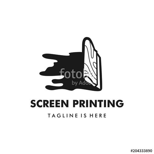 500x500 Screen Printing Silk Screenprinting Logo Vector Illustration