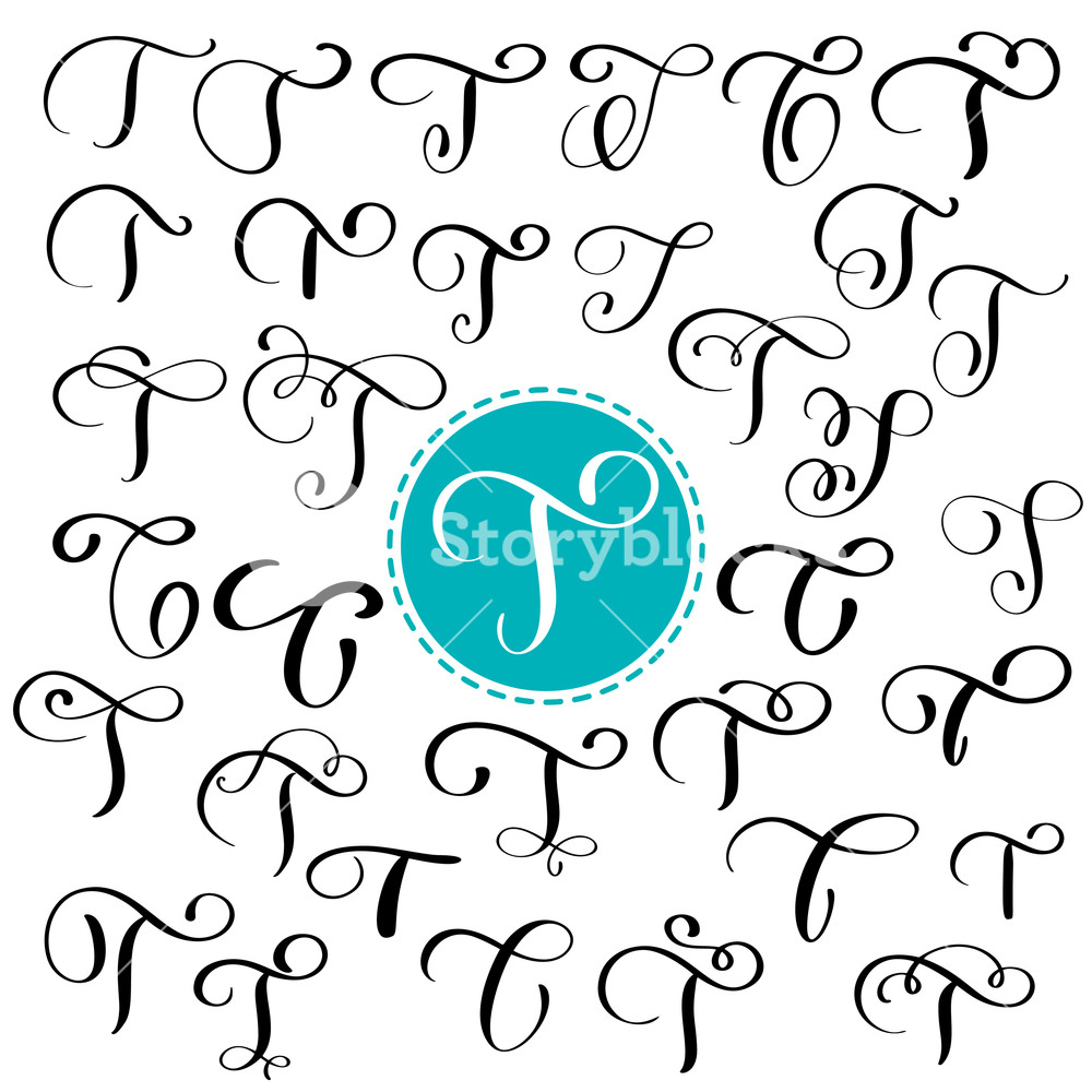 1000x1000 Set Letter T. Hand Drawn Vector Flourish Calligraphy. Script Font