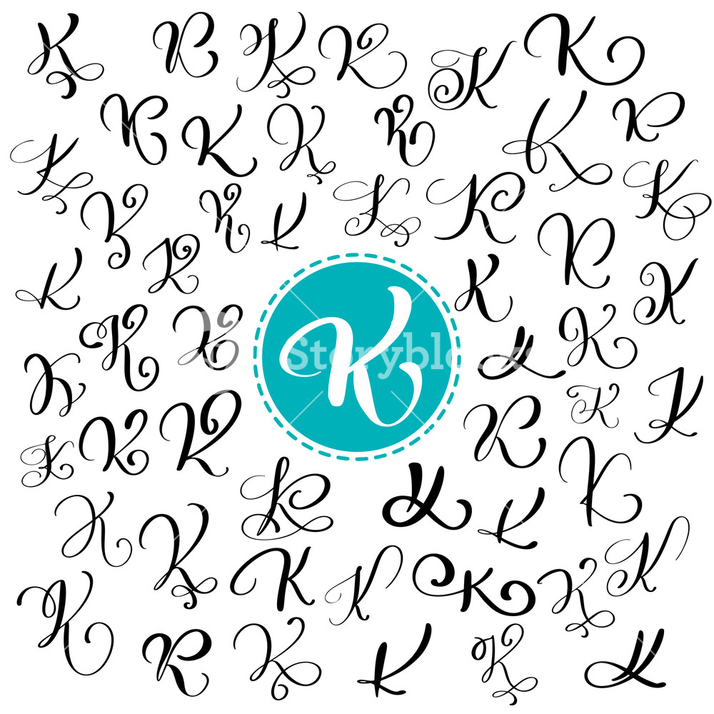 1000x1000 Set Of Hand Drawn Vector Calligraphy Letter K. Script Font