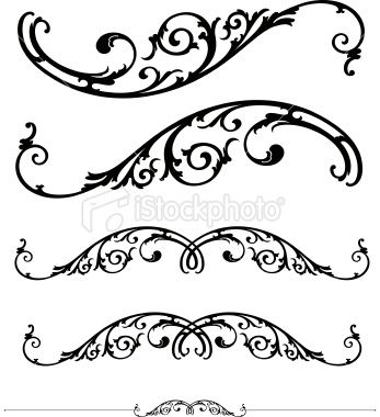 347x380 Free Vector Scrollwork Set Of Ornate Scrolls And Ruledesign