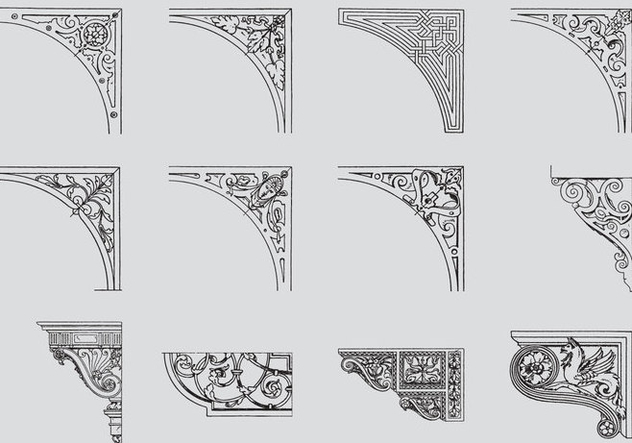 632x443 Scrollwork Corners Free Vector Download 384621 Cannypic