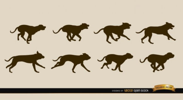 626x344 Dogs Running Sequence Vector Silhouettes Vector Free Download