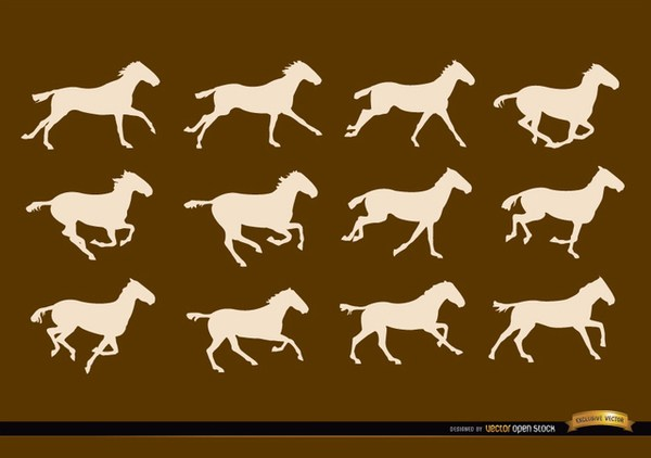 600x422 Horse Running Sequence Frames Silhouettes Free Vector 123freevectors
