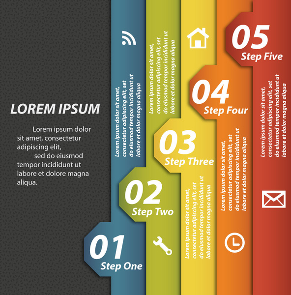592x600 Vertical Tags Vector Illustration Of Sequence Infographic Diagram