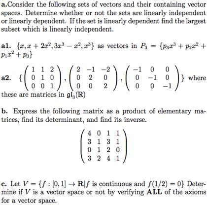 420x416 Solved Consider The Following Sets Of Vectors And Their C