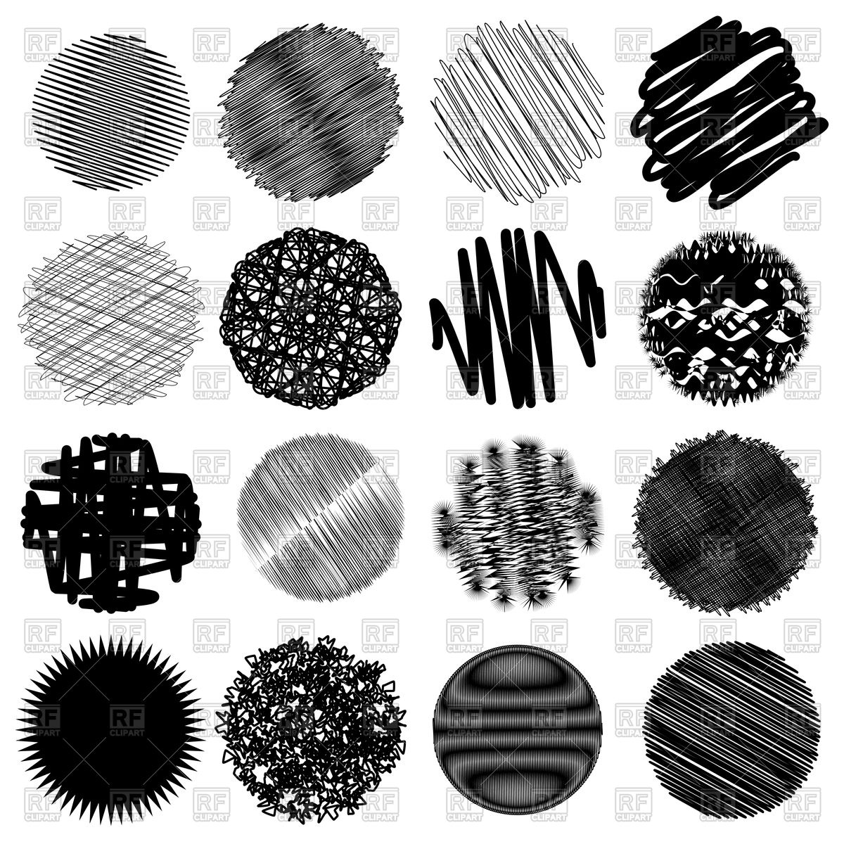 1200x1200 Hand Drawn Sketch Circles With Shading Fill Vector Image Vector