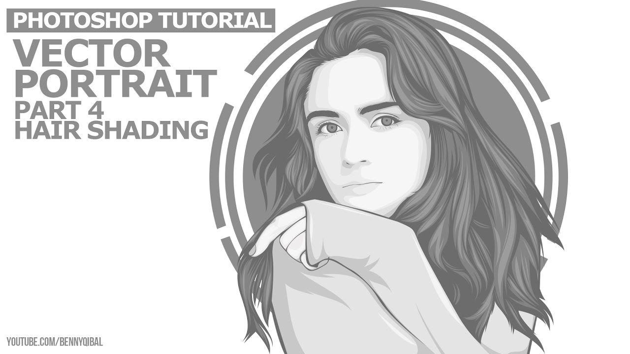 1280x720 44 Monochrome Vector Portraits Photoshop Tutorial Hair Shading