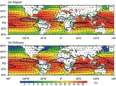 481x356 Climatological Mean Sst (Shading) And 925 Hpa Winds (Vector) In (A