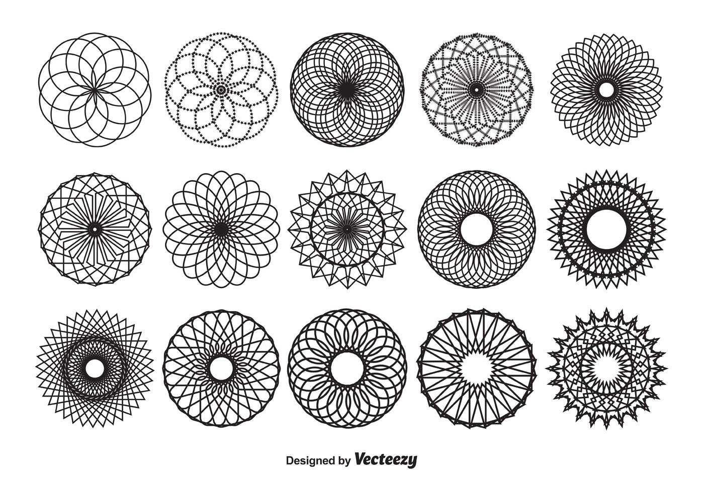 1400x980 Spirograph Vector Shapes