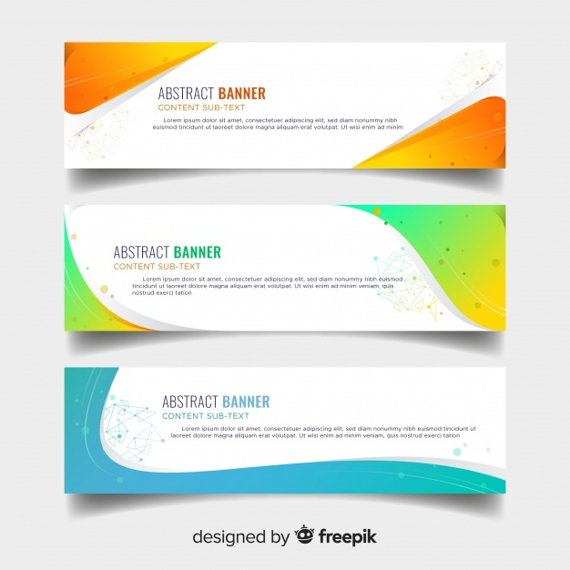 626x626 Abstract Banners With Colorful Wavy Shapes Vector Free Download