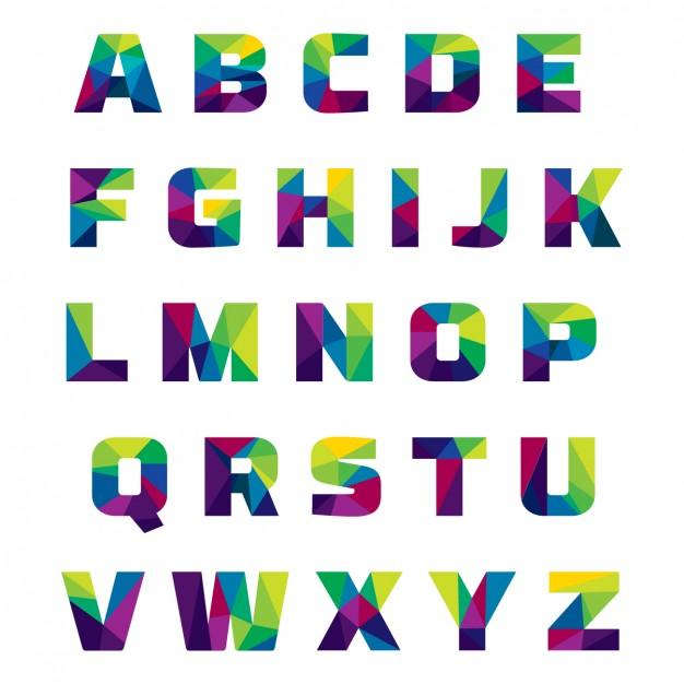 626x626 Alphabet Images Free Coloured Alphabet Made Of Polygonal Shapes