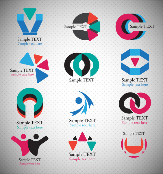 564x600 Logo Sets Design With Abstract Shapes Illustration Free Vector In