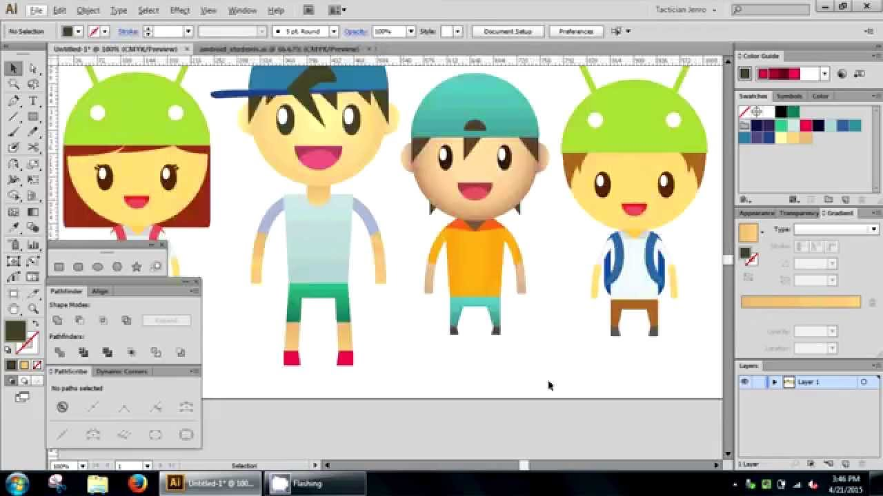 1280x720 Basic Vector Characters Using Shapes