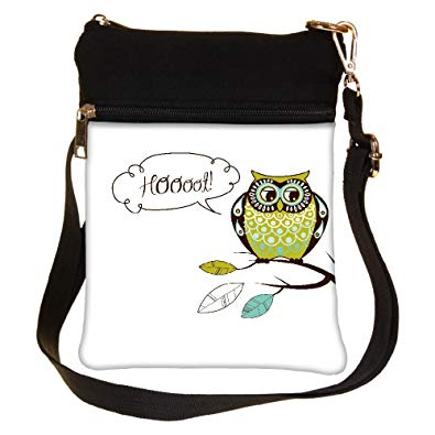395x395 Snoogg Cute Vector Owl Hoooot Card Cross Body Tote Bag Shoulder