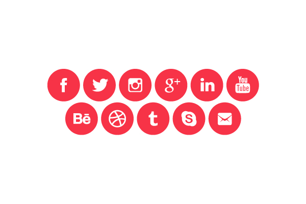 600x400 Rounded Social Media Icons (Vector)