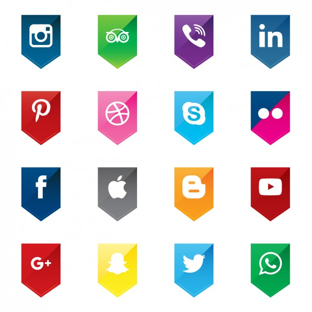 626x626 Social Media Icons In Arrow Shapes Vector Free Download