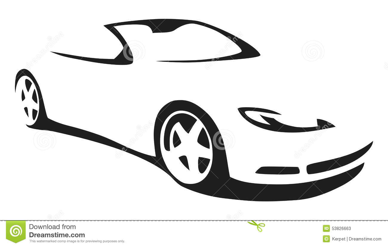 1300x830 Outline Of Sports Car Vector Silhouette Sports Car Stock Vector
