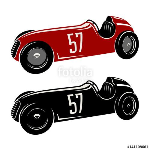 500x500 Racing Car Vector Illustration. Vintage Sport Car Graphic Tee