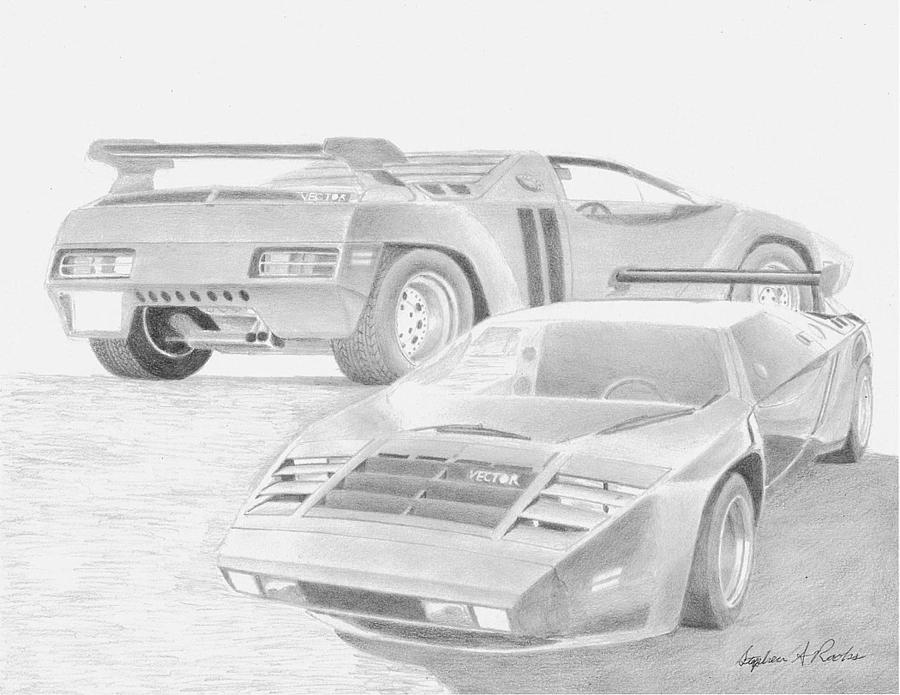 900x695 1980 Vector W2 Sports Car Art Print Drawing By Stephen Rooks