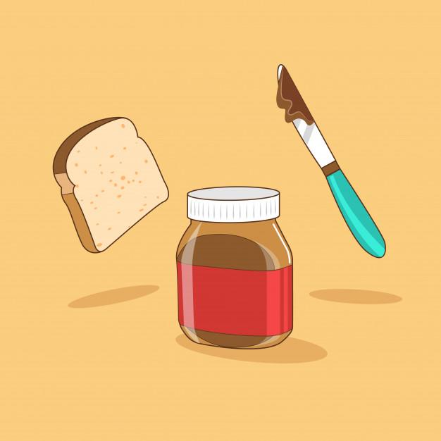 626x626 Breakfast Bread Amp Chocolate Spread Vector Premium Download