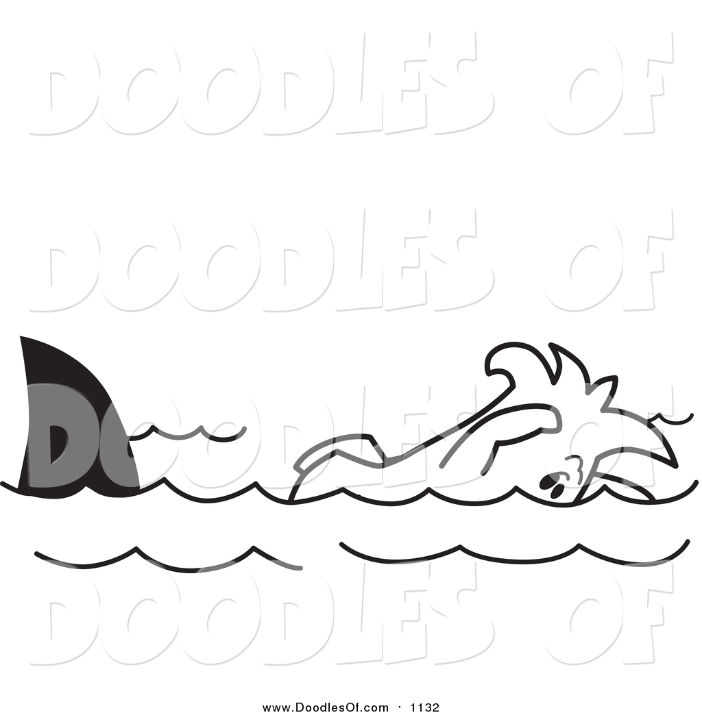 1024x1044 Vector Clipart Of A Doodled Squiggle Guy Swimming With Sharks By