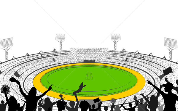 600x375 Stadium Of Cricket With Pitch For Champoinship Match Vector