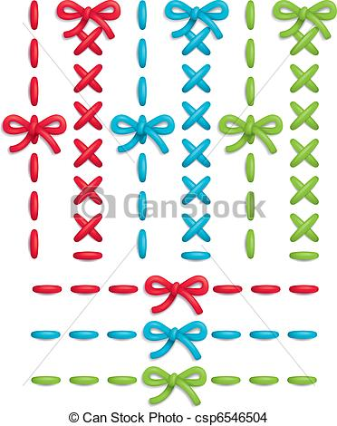 372x470 Stitch Set. Set Of Colorful Vector Stitches And Bows.