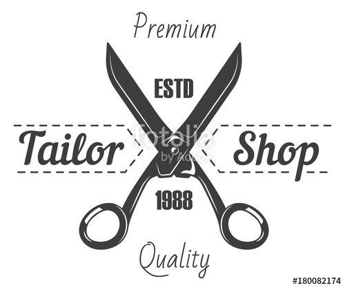 500x417 Tailor Shop Salon Vector Icon Of Scissors And Premium Sewing