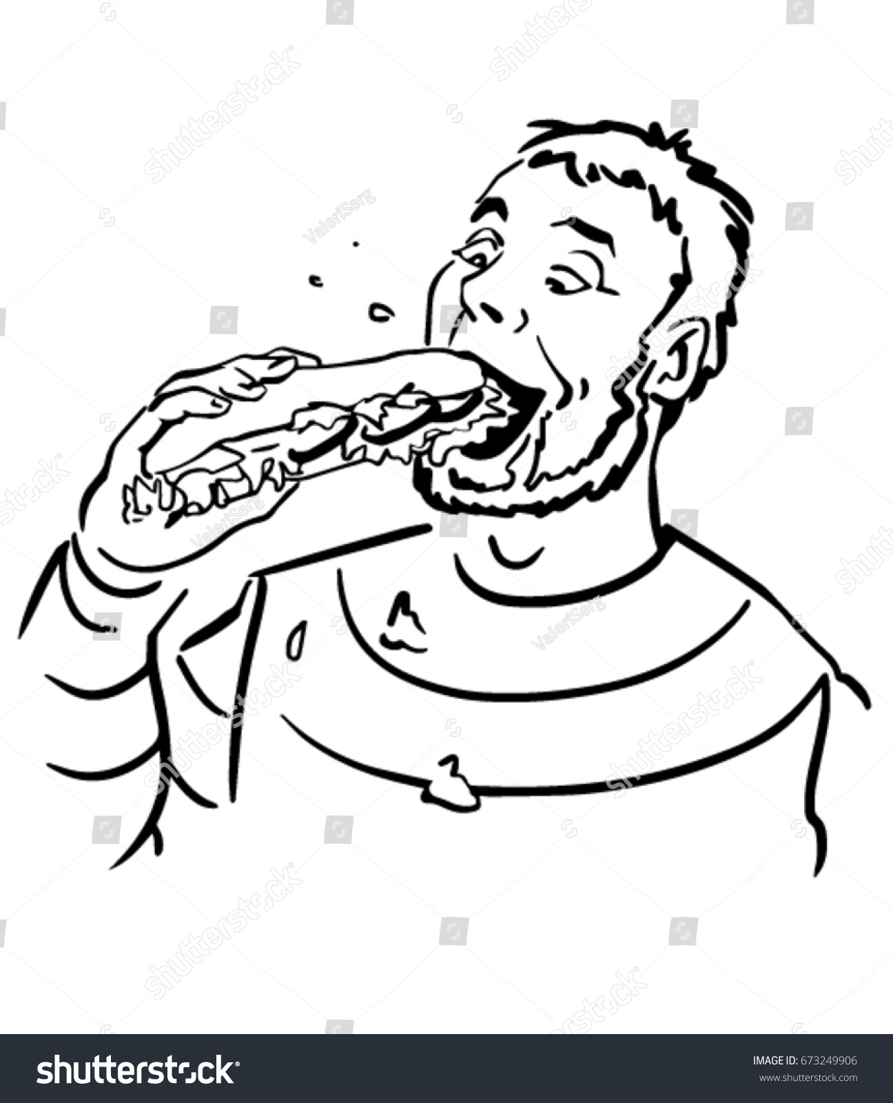 1296x1600 Funny Black And White Drawings Man Eagerly Eating Sandwich Funny