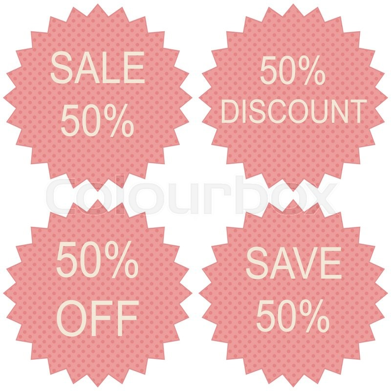800x800 Discount Price Tags. 50 Percent Sale. Vector. Stock Vector