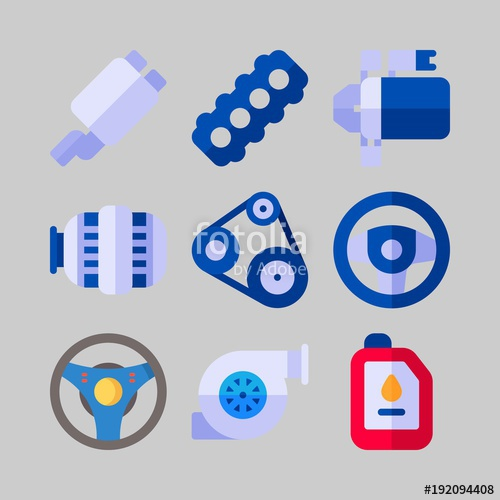 500x500 Icon Set About Car Engine. With Reserve Stock Price, Motor Oil And