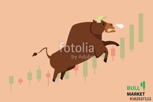 500x334 Bull Treading On The Stock Market. Bull (Market) Running Up On